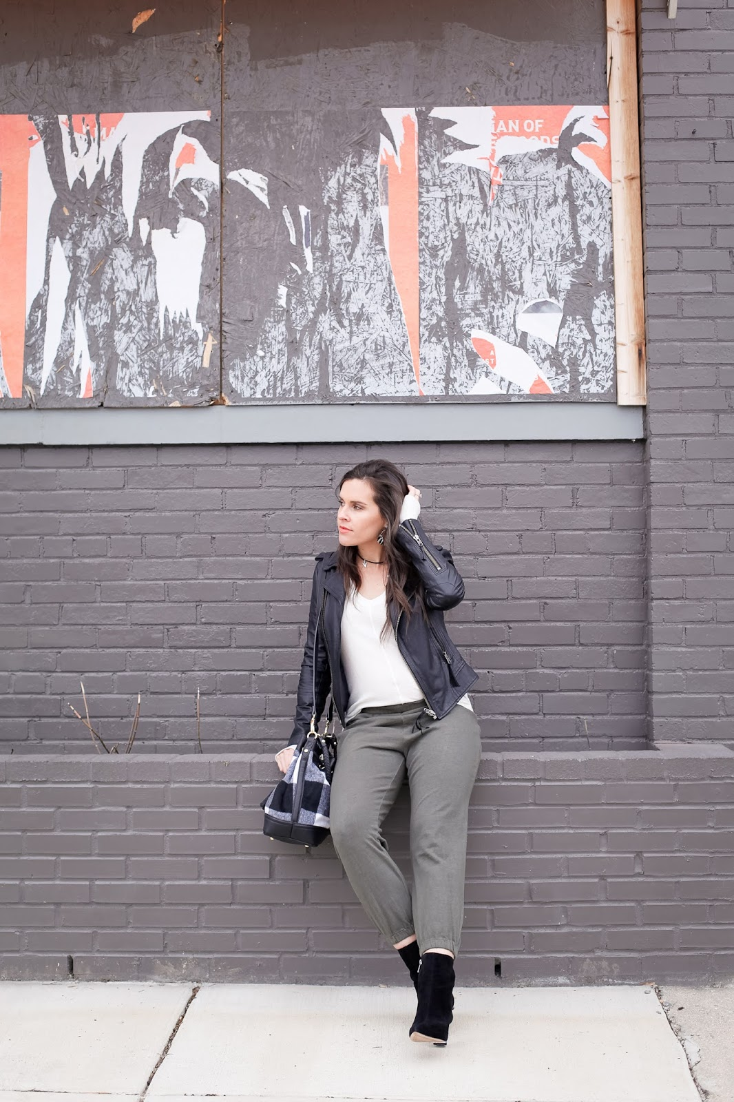Styling joggers while pregnant.