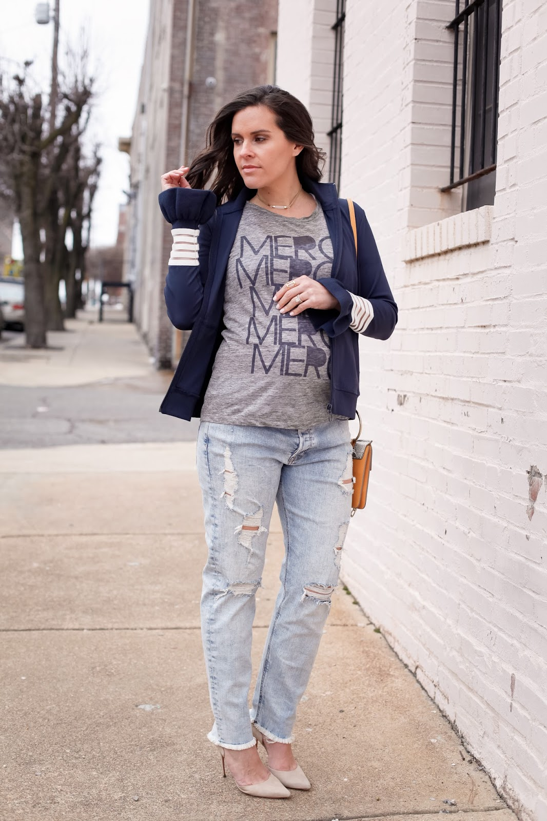 Maternity style with a track jacket.