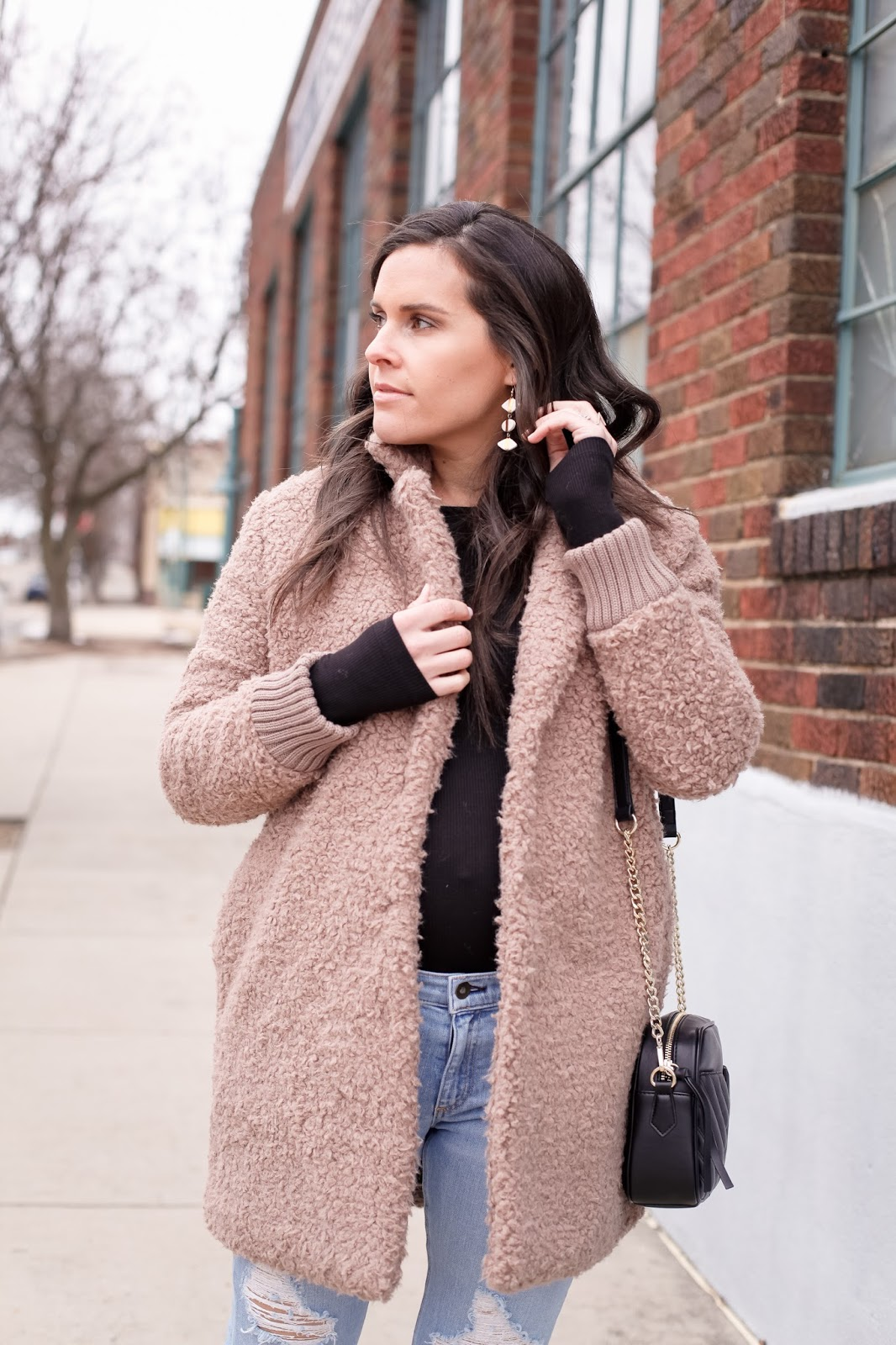 How to style a teddy coat for a warm winter day.
