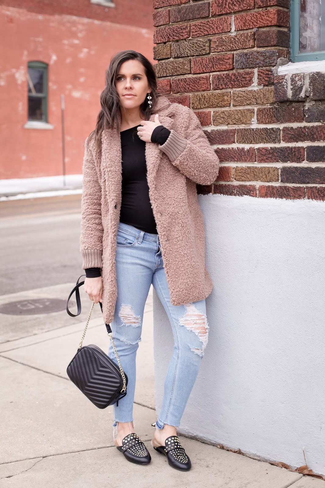 Styling the teddy coat with a bodysuit