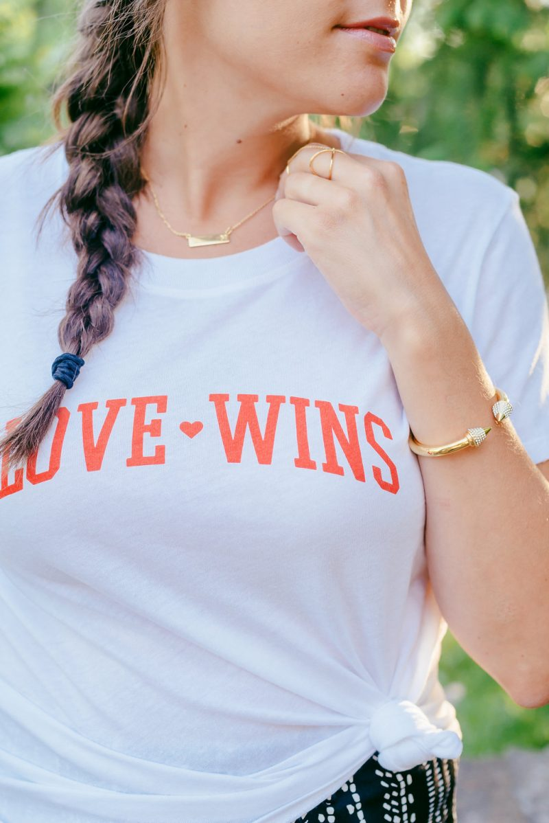 Love wins knotted tee and wide leg trousers