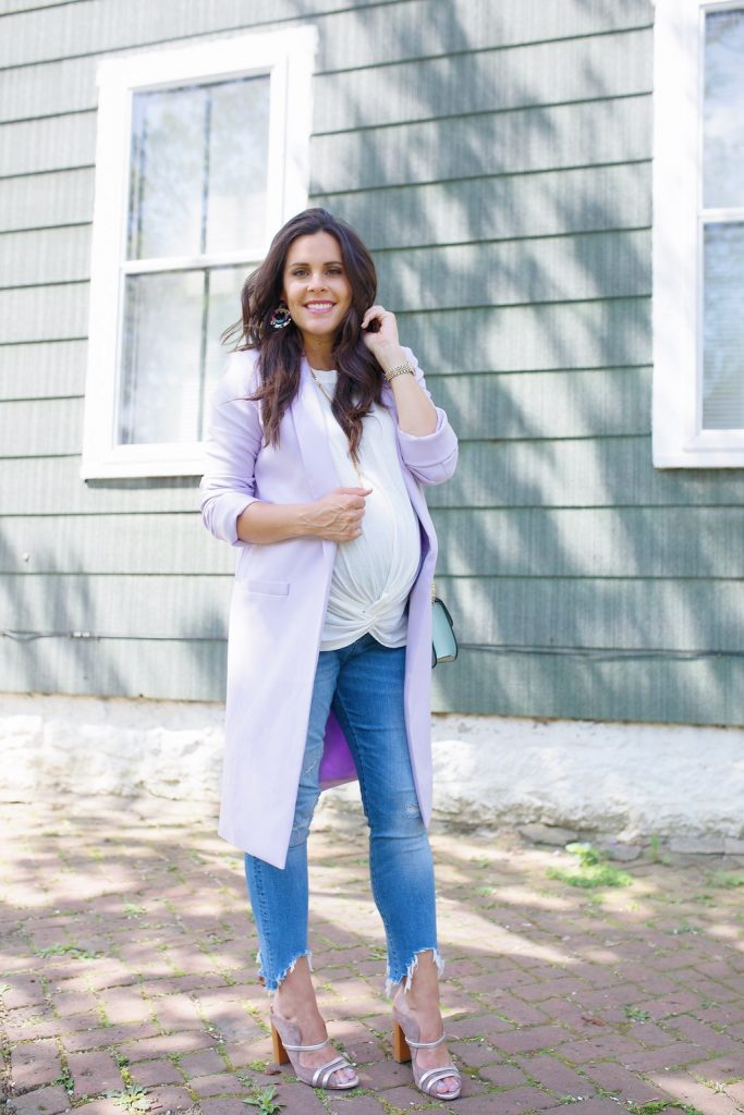 blogger maternity denim