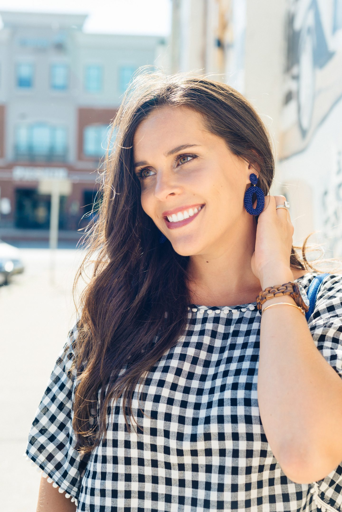 blue beaded statement earrings
