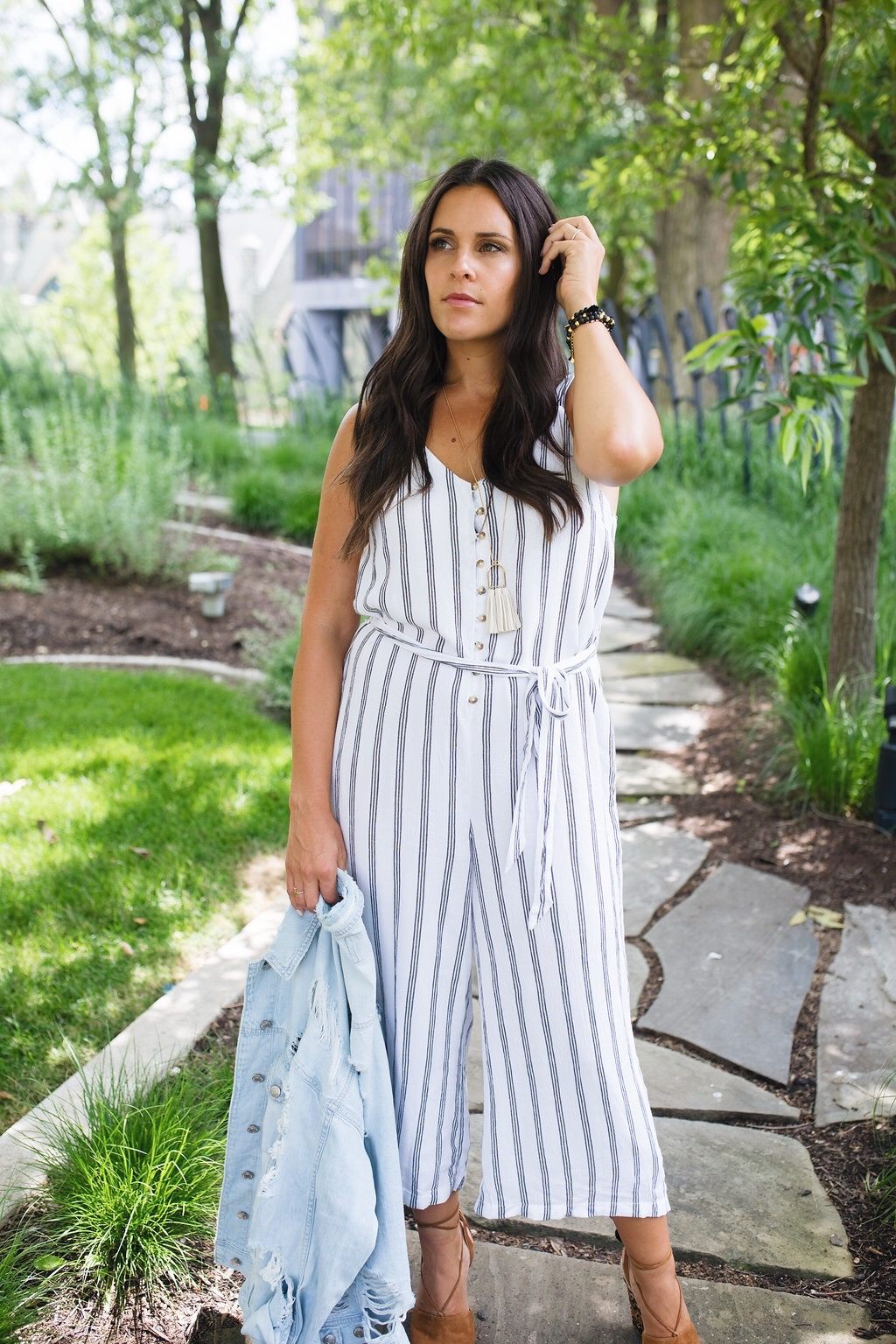 256dc05ee5e6 Insert this striped button front culotte jumpsuit. This jumpsuit has come  to the rescue so many times this summer. When I want to wear something on  trend ...