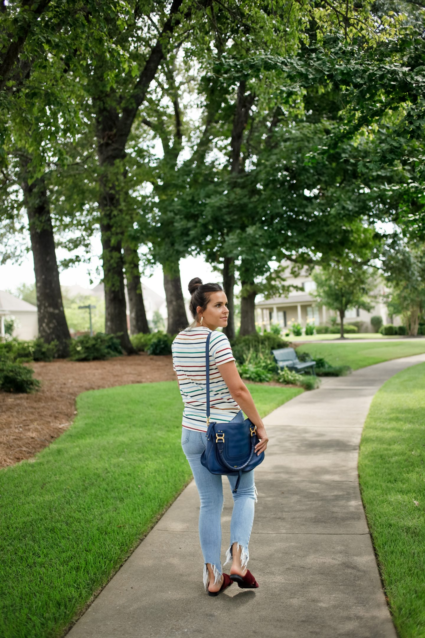 striped shirt and distressed denim