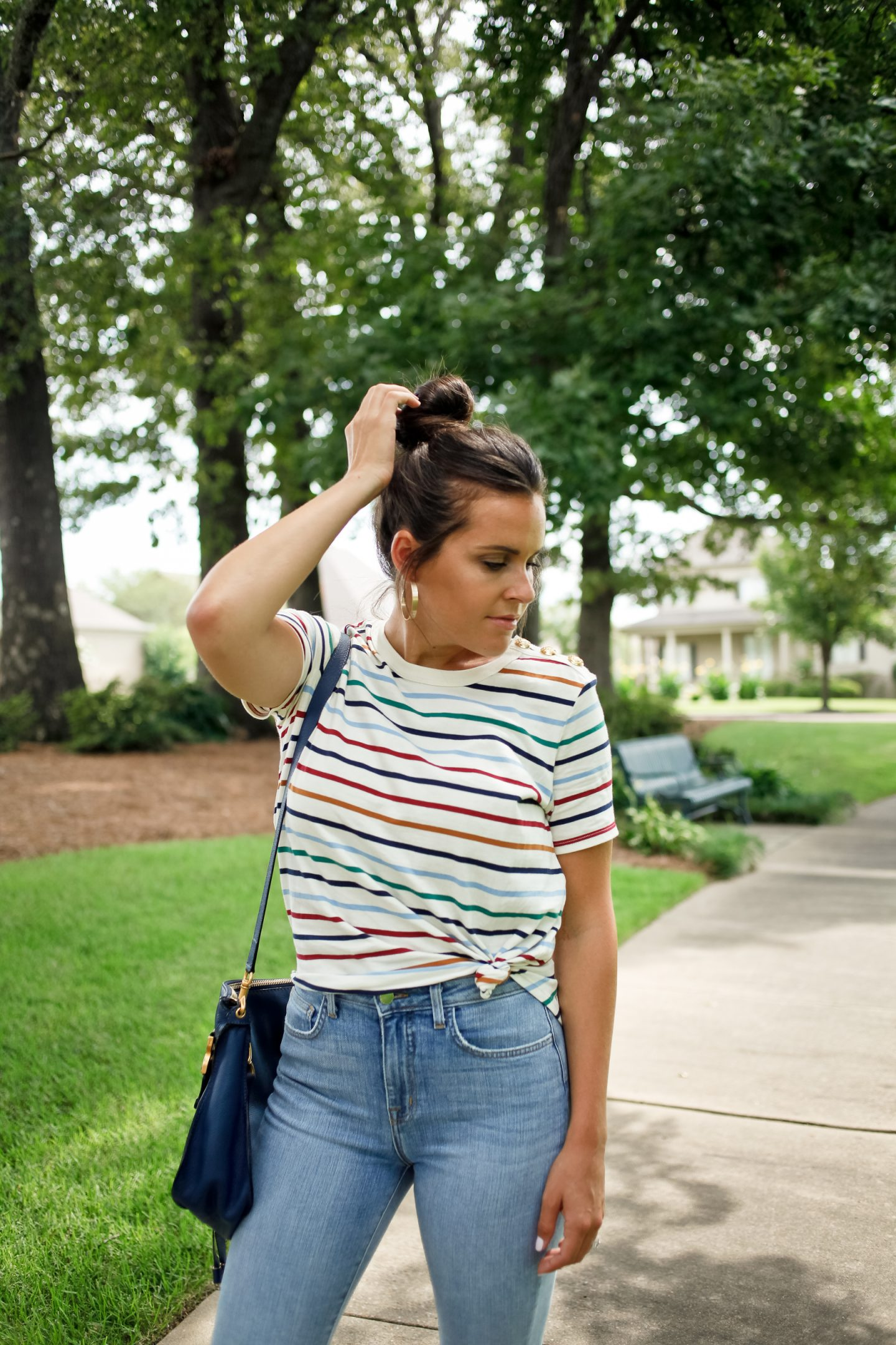 knotted striped shirt and distressed denim