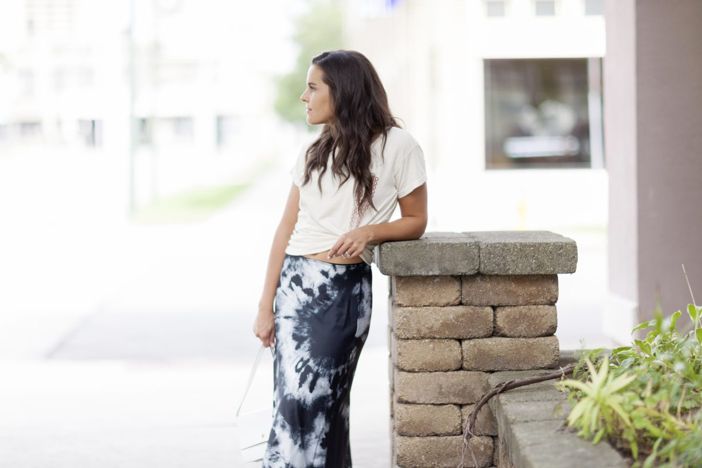 mixing prints tie dye skirt
