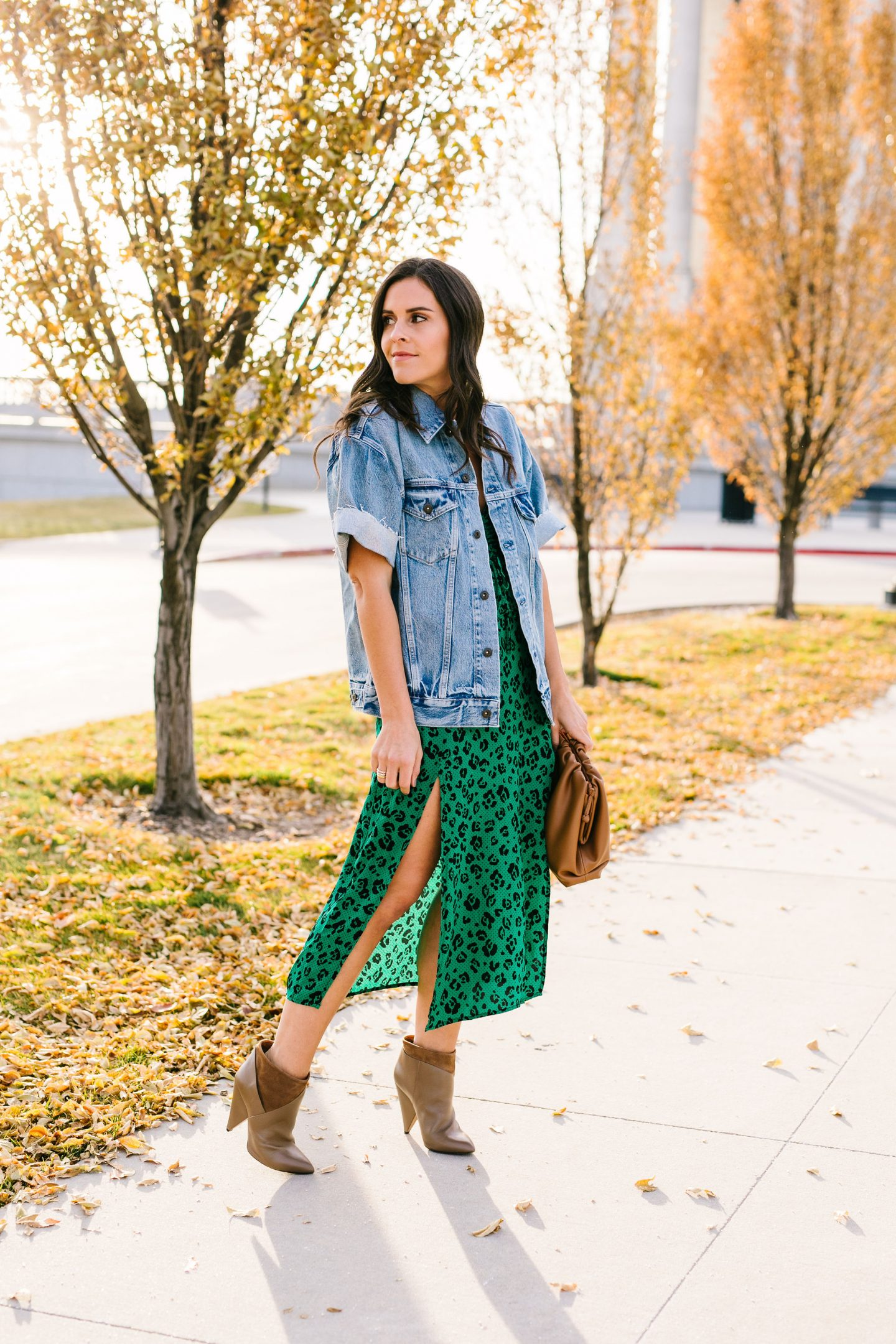 green leopard dress